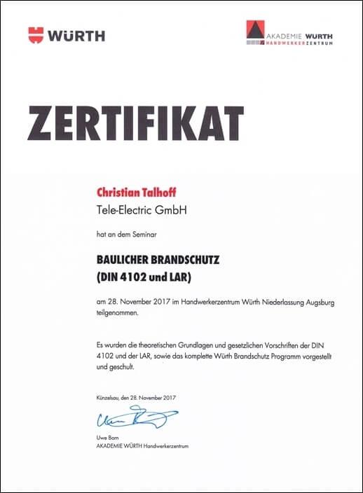 Zertifikat baulicher Brandschutz